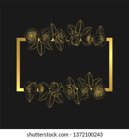 Hand drawn doodle style rose flowers golden border and frame. floral design element. isolated on black background. stock vector illustration