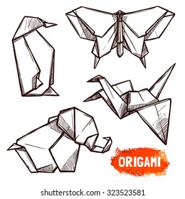 Hand drawn doodle style set of 4 origami figures penguin butterfly elephant swan isolated vector illustration
