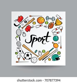 Hand drawn doodle style, sport equipment in isolated background, illustration vector greeting card and infographics design.