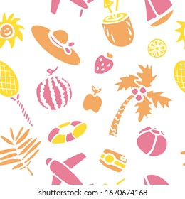 Hand drawn doodle summer seamless pattern Vector illustration Sketchy summer holiday elements collection Isolated vacation objects Cartoon summer beach journey symbols Summertime traveling background