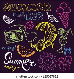 Hand drawn doodle summer vector set. Vector illustration.
