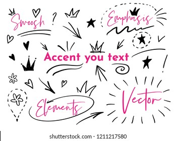 Hand drawn doodle swishes, swoops, emphasis vector set. Collection of black and white highlight text elements, calligraphy swirl, tail, flower, heart, graffiti crown.