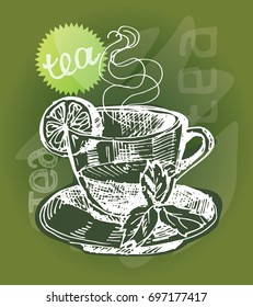 Hand drawn doodle tea illustration. Lemon and mint