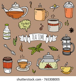 Hand drawn doodle Tea time icon set. Vector illustration. Isolated drink symbols collection. Cartoon various beverage element: mug, cup, teapot, leaf, spoon, spice, mint, herbal, milk