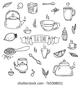 Hand drawn doodle Tea time icon set. Vector illustration. Isolated drink symbols collection. Cartoon various beverage element: mug, cup, teapot, leaf, spice, plate, herbal, sugar, lemon.