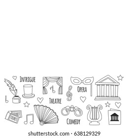 Hand drawn doodle Theatre set Vector illustration Sketchy theater icons