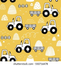 hand drawn doodle tractor seamless pattern