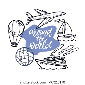 Hand drawn doodle travel illustration