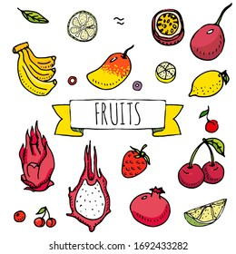 Hand drawn doodle tropical fruits icons. Vector illustration. Seasonal berry symbols collection. Cartoon different kinds of greengrocery on white background. Sketch style Cherry, Mango, Banana
