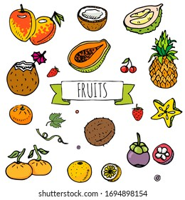 Hand drawn doodle tropical fruits icons. Vector illustration. Seasonal berry symbols collection. Cartoon different kinds of greengrocery on white background. Sketch style Pineapple, Mango, Coconut