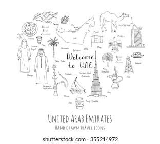 Hand drawn doodle UAE set Vector illustration Sketchy Emirati food icons United Arab Emirates elements Arabic Dubai Abu Dhabi Burj Al Arab Khalifa Camel Oil Abaya Hijab Kandura Muslim Travel icons