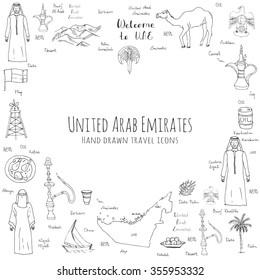 Hand drawn doodle UAE set Vector illustration Sketchy Emirati food icons United Arab Emirates elements Arabic Dubai Abu Dhabi Camel Oil Abaya Hijab Kandura Muslim Travel icons Welcome to Emirates