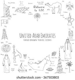 Hand drawn doodle UAE set Vector illustration Sketchy Emirati food icons United Arab Emirates elements Arabic Dubai Abu Dhabi Camel Oil Abaya Hijab Kandura Muslim Travel icons