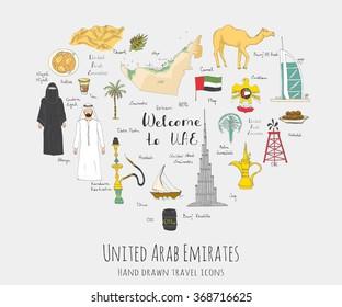 Hand drawn doodle UAE set Vector illustration Sketchy Emirati food icons United Arab Emirates elements, Flag Dubai Abu Dhabi Burj Al Arab Burj Khalifa Camel Oil Abaya Hijab Kandura Muslim Travel icons