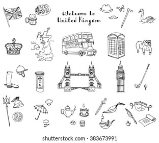 Hand drawn doodle United Kingdom set Vector illustration UK icons  Welcome to London elements British symbols collection Tea Bus Horse riding Golf Crown Beer Book Bulldog London bridge Big Ben Tower