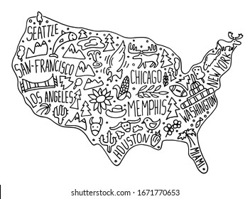 Hand drawn doodle USA map. American city names lettering and cartoon landmarks, tourist attractions cliparts. US travel, trip comic infographic poster, banner concept design.