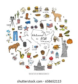 Hand drawn doodle USA set Vector illustration Sketchy american icons United States of America elements Flag Statue of Liberty Eagle Fast food Corn Skyscraper Deer Bison Cowboy hat boot Native American