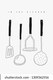 Hand drawn doodle utensils set. Vector kitchen tools elements. Potato masher, ladle, spatula, skimmer