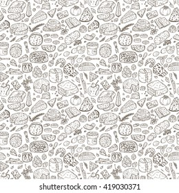 Hand Drawn Doodle various types of cheese: roquefort, parmesan, goat cheese, mozzarella, smoked gouda, blue cheese. Vector Seamless pattern.