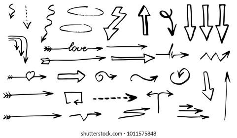 Hand drawn doodle vector arrows.