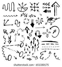Hand drawn doodle vector arrows icons set isolated on white background