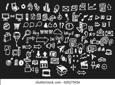 Hand drawn doodle vector business icon set on Chalkboard