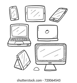 Hand Drawn Doodle Vector of Computer