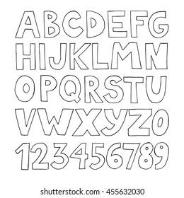 Hand drawn doodle vector handwritten alphabet