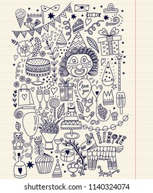 Hand Drawn Doodle Vector Happy Birthday Card.