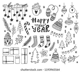 Hand drawn doodle vector illustration. Christmas art drawings in black. Set with lettering, fir branches, ornaments, candy, present boxes for gift tags, labels, card, invitations.