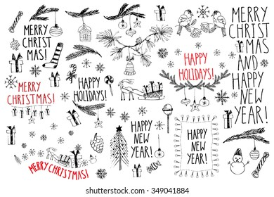 Hand drawn doodle vector illustration. Christmas line art drawings in black and red. Small sets with lettering, fir branches, ornaments, candy, present boxes for gift tags, labels, card, invitations.