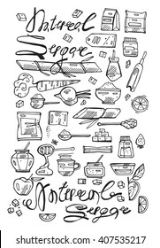 Hand drawn doodle vector line natural sugar icons set.Set of food icons. Ingredients for cooking.Beet, carrot, honey,fruit, caramel and brown sugar.