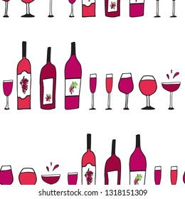 Hand drawn doodle vector seamless pattern with wine glasses and bottles. Red bordo wine