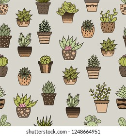 Hand drawn doodle vector with succulents. Seamless pattern.