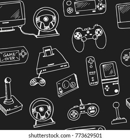 Hand drawn doodle video games seamless pattern Vector illustration. Symbol collection.