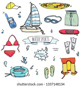 Hand drawn doodle Water sports icons set. Vector illustration, isolated symbols collection, Cartoon various elements: kayak, surfing board, sails katamaran, swimming suit, flippers, safety jacket