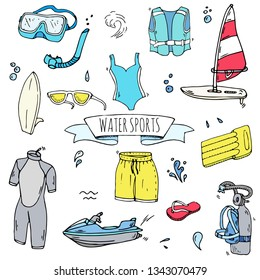 Hand drawn doodle Water sports icons set. Vector illustration, isolated symbols collection, Cartoon various elements: surfing board, windsurfing, snorkeling, swimming suit, safety jacket, shorts