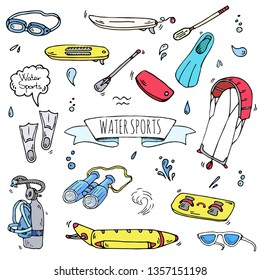 Hand drawn doodle Water sports icons set. Vector illustration, isolated symbols collection, Cartoon various elements: surfing board, kitesurfing, paddle, snorkeling, diving equipment, binoculars