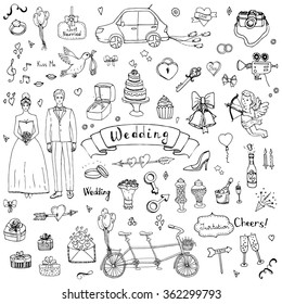 Hand drawn doodle Wedding collection Vector illustration Sketchy Marriage icons Big set of icons for Wedding day, love and romantic events Bride Groom Heart Cupid Engagement ring Tricycle Invitation