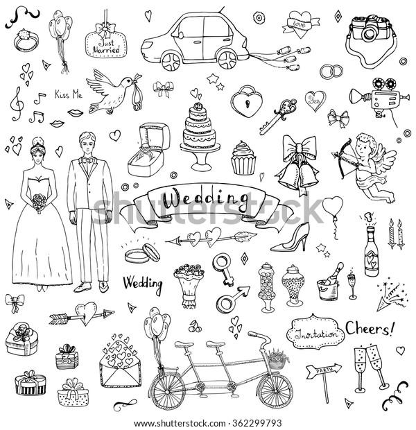 手描きの落書き式の結婚式のコレクションベクターイラスト結婚の