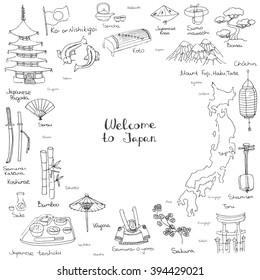 Hand drawn doodle Welcome to Japan set Vector illustration with Japan major city's names Chochin-lantern Koto, Shamisen-musical instruments Koi-fish Koshirae-sword Teishoku-meal set Sensu-fan Kasa-hat