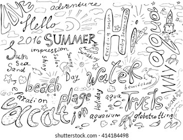 Hand drawn doodle words about summer, travel, sea, sun. Conceptual poster with lettering composition. Vector illustration.