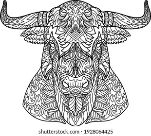 Hand drawn doodle zentangle buffalo head illustration elements design for adult coloring book page