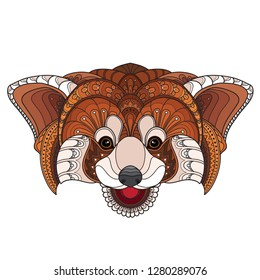 Hand Drawn Doodle Zentangle red panda Illustration-vector