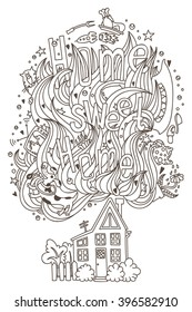 """Hand drawn doodled """"Home sweet home"""" monochrome ornament for adult coloring book, pages, cards."""