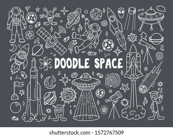 Hand drawn doodles cartoon set of space objects and symbols. Doodle vector elements on gray background. Vector illustration.