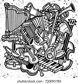 Hand Drawn Doodles. Collection of Music Instruments. Music and Recreation Time Concept.vector illustration