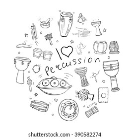 Hand drawn doodles of different kinds of African, Indian, Brazilian and Oriental drums collected in a shape of a circle with handwritten quote I love percussion.