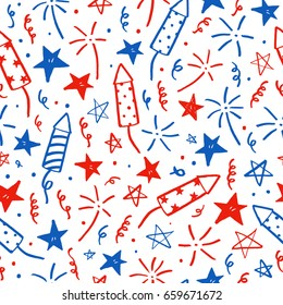 Hand drawn doodles. Fourth of July. Independence Day. Vector seamless pattern