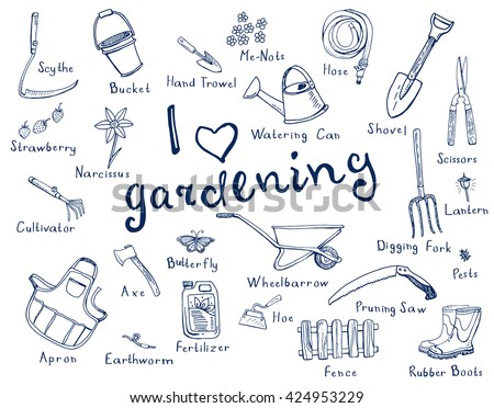 Hand Drawn Doodles Gardening Tools Plants Stock Vector Royalty Free